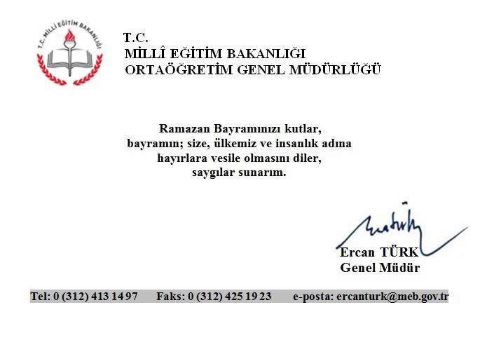 Genel Müdürümüz Ercan TÜRK ün Ramazan Bayramı Kutlama Mesajı